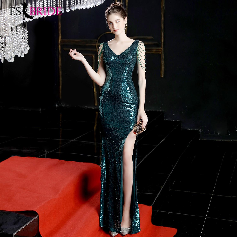 Sequined Mermaid Evening Dresses Long ES3174 V-Neck Sleeveless Luxury Saudi Arabia Party Gowns Zeemeermin Jurk