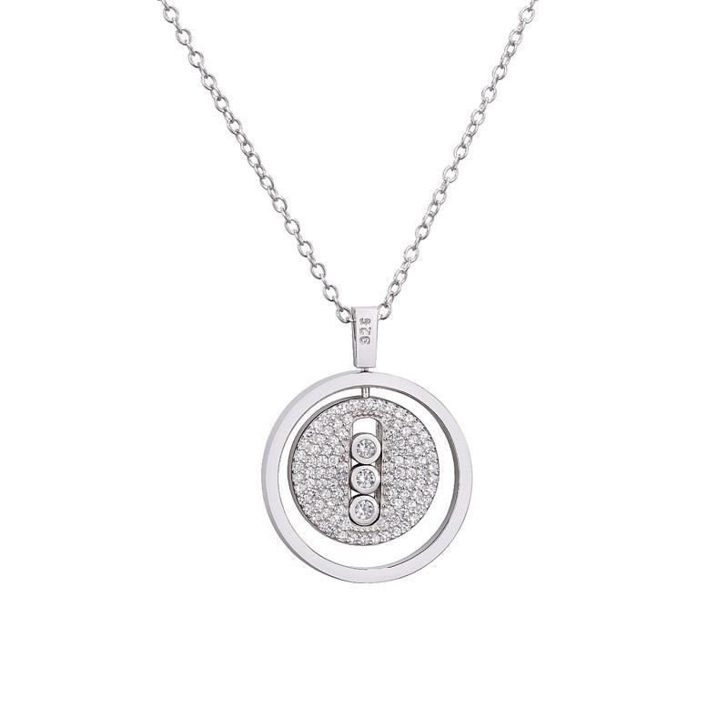 Moonmory 925 en argent Sterling colliers pendentif pour les femmes marque populaire CZ Zircon argent cou chaînes bijoux 2020 cadeaux de noël 2