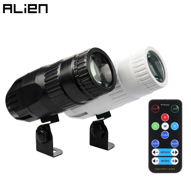 ALIEN 15W RGBW LED Pinspot Beam Spotlights Light DJ Disco Party Holiday Dance Bar Xmas Stage Lighting Effect with Remote Control