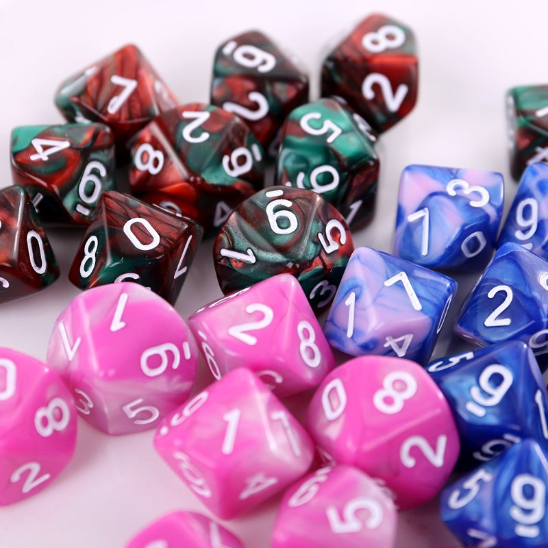 10pcs/set 10 Sided D10 Polyhedral Dices Numbers Dials Desktop Table Board Game PXPF