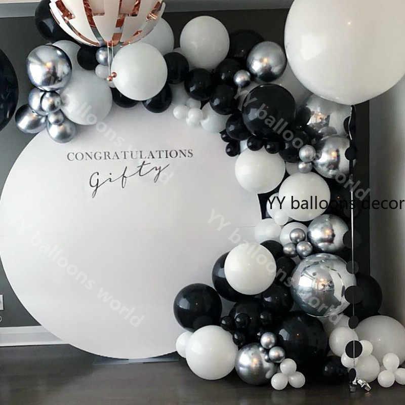DIY 108pcs Black White Balloons Garland Arch Latex Chrome gold Silver 4D Ballon Baby Shower Birthday Party Wedding Globals Decor Supplies