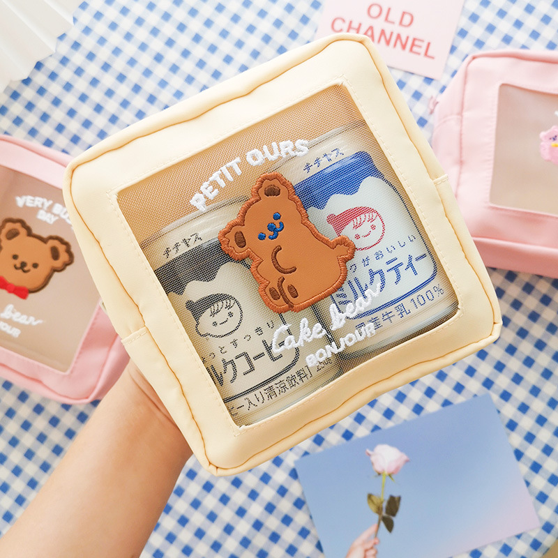 Cute Busy Bear Happy Day Cloh Zipper Bag Big Portable Stationery Bag Cosmetic Pouch Supplies Free Shipping
