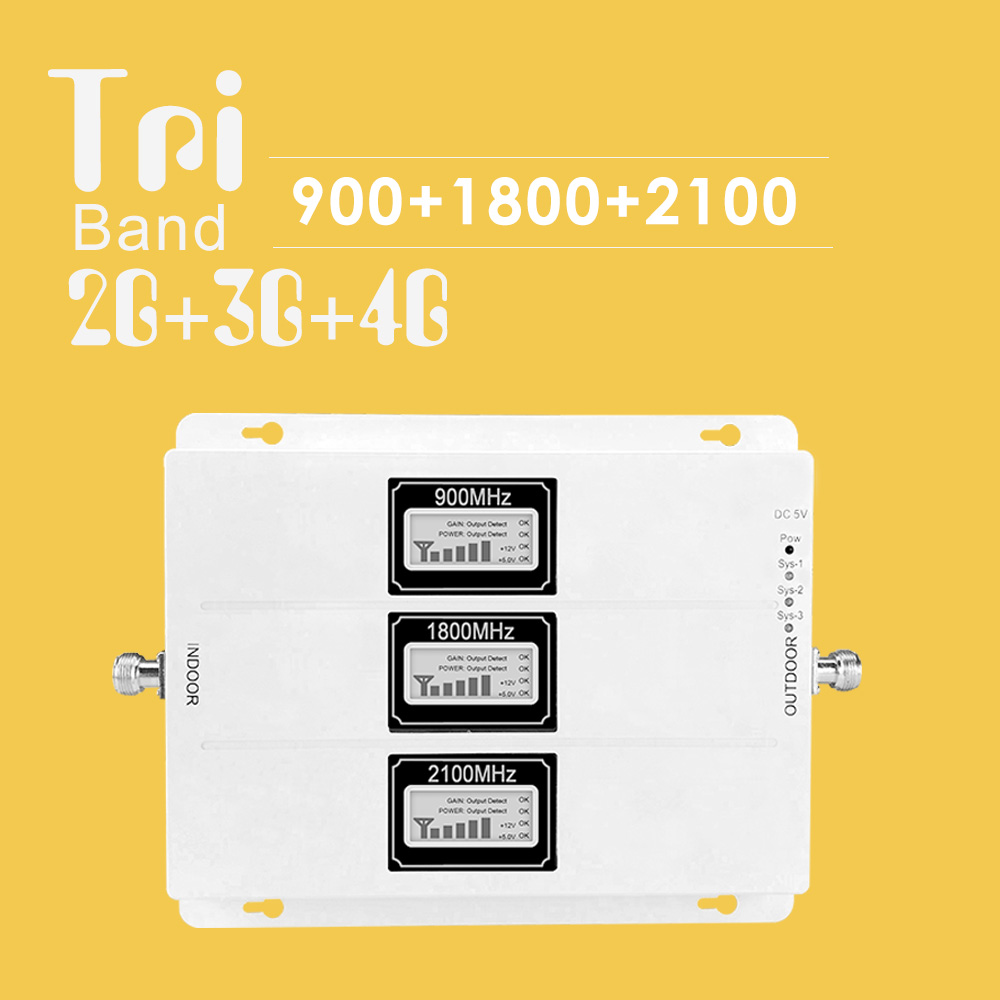 Walokcon 2g 3g 4g GSM Signal Repeater  900 1800 2100 GSM WCDMA UMTS LTE Cellular Booster 900/1800/2100mhz Tri Band Amplifier B3