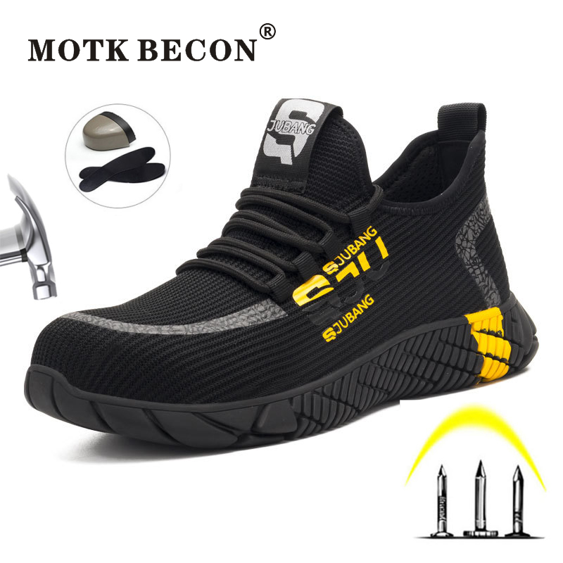 MOTK BECON Men's Safety Shoes Indestructible Composite Toe Breathable Anti-smashing Reflective Casual Sneaker Work Shoes L124