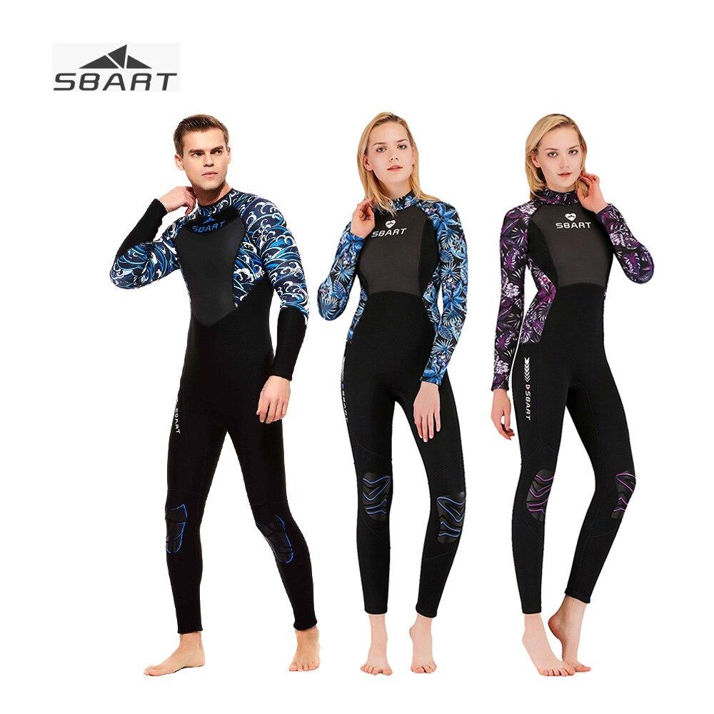 Sbart 3mm combinaison corps complet néoprène Couple chasse sous-marine Surf combinaison de plongée plongée une pièce Protection solaire combinaisons épaisses