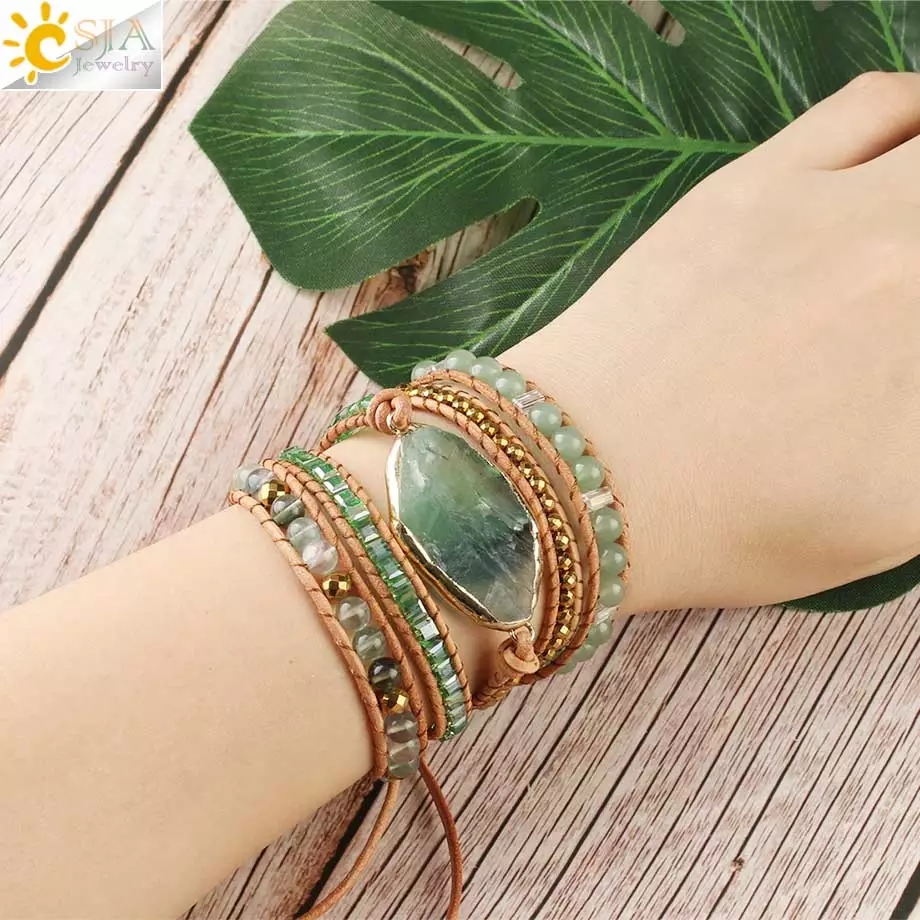 CSJA Natural Stone Bracelets Green Fluorite Crystal Aventurine Bead Leather Wrap Bracelet Multilayer Boho Jewelry Pulseira G118