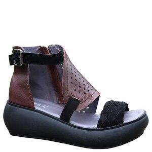Image 2 - GKTINOO المرأة الصيف الصنادل جلد طبيعي اليدوية السيدات أحذية 2020 الصيف سميكة وحيد النساء الصنادل الرجعية مشبك الأحذية