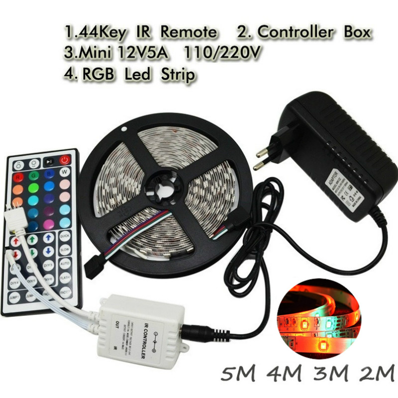 44Key Remote-1/2/3/4/5/10M LED Lamp RGB Led Strip Light 2835 Flexible Lighting String Ribbon Tape Home Decoration Lamp Tape