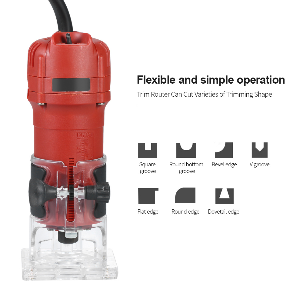 New Trim Router With Transparent Base Edge Guide Wood Laminate Trimmer Compact Palm Router for Woodworking