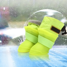 4pcs/Lot Pet Dog Rain Shoes Dogs Fleece Lining Booties Silicone Portable Anti Slip Waterproof Cat