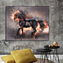 Laeacco Canvas Painting Calligraphy Chinese Running Horse Animal Posters and Prints Wall Art Pictures for Living Room Home Decor