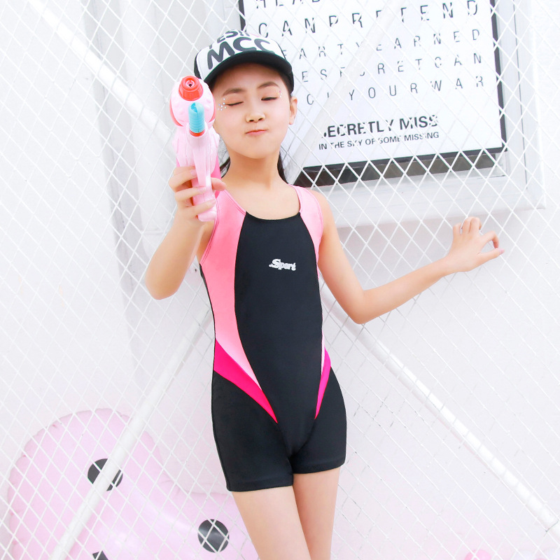 2019 New Style Racing Girls Profession One-piece KID'S Swimwear Boxers Learning Training Tour Bathing Suit Women's