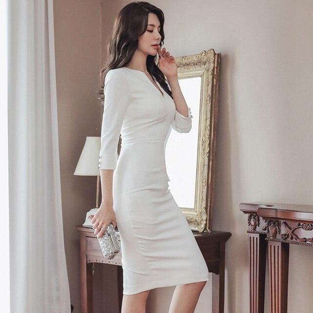 Business Office Dress 2020 Spring White Comfortable High Waist Slim Pencil Dress V-Neck Five-Sleeve Elegant Women's Party Dress 4