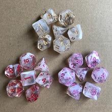 11 видов прозрачных/непрозрачных двухцветных цифровых кубиков с перламутровым эффектом, Набор кубиков 7 шт./лот, многогранные кубики