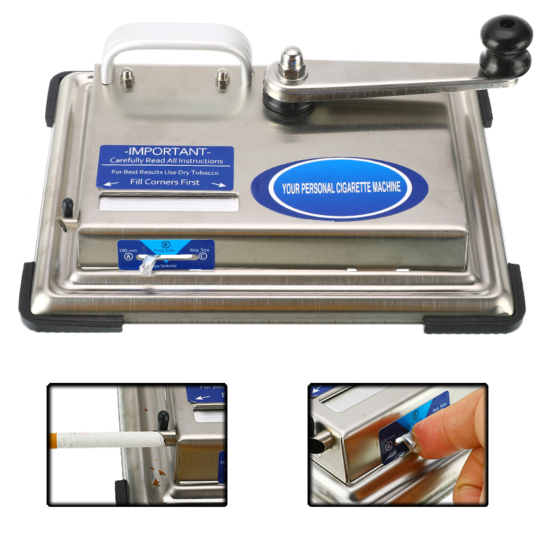 Stainless Steel Cigarette Maker Roller Hand-cranked Tobacco Rolling Machine Manual Cigarette Filling Machine Smoking DIY Tools