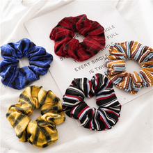 2019 New Vintage Red Blue Check Ponytail Holder Scrunchies Ring Elastic Hair Bands Hair Rope for Women Girls Hair Accessories-in Women's Hair Accessories from Apparel Accessories on AliExpress