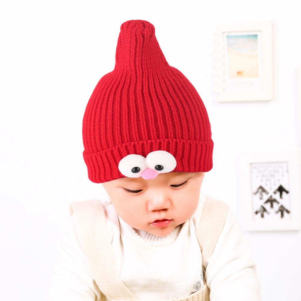 Children Winter Hats Kids Knitted Beanies Cute Pokemon Cartoon Wizard Eye Shape Curled Skullcap Bonnet Boys Girls Warm Skullies