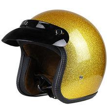 Capacete brilhante dourado para motocicleta, capacete vintage aberto 3/4 de rosto retro aprovado para moto scooter