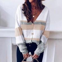 Вязаный кардиган с v образным вырезом свитер на пуговицах в