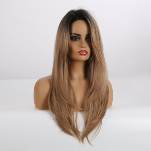 Image 2 - EASIHAIR Long Straight Black to Brown Ombre Synthetic Wigs for Women Natural Hair Wigs with Bangs Heat Resistant Cosplay Wigs