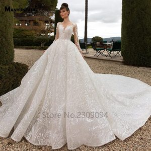 Image 3 - Vestido de boda de manga larga con espalda transparente, abendkleider 2020