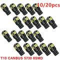 10/20 шт. светодиодный лампочка для салона автомобиля Canbus Error Free T10 белый 5730 8SMD светодиодный 12V автомобиль клиновидные боковые светильник белый...