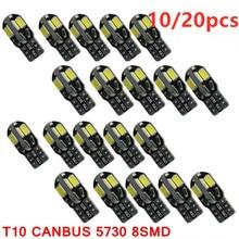 10/20 pces led lâmpada interior do carro canbus livre de erros t10 branco 5730 8smd led 12v cunha lateral do carro luz branca lâmpada auto carro estilo