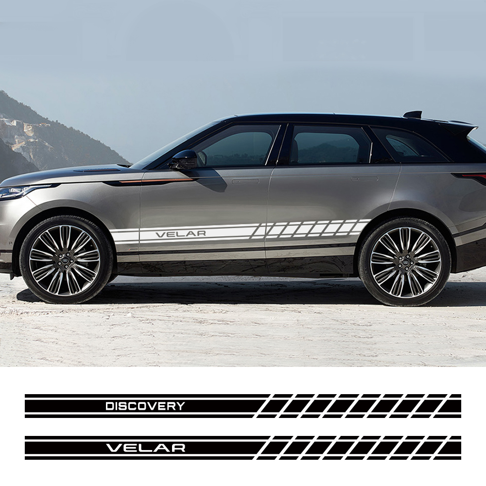 Pegatinas de PVC para Land Rover Discovery 3, 4, 2, Freelander, Evoque, Velar, autogigrafía SVR, accesorios para automóviles, falda lateral de puerta de coche, 2 uds.