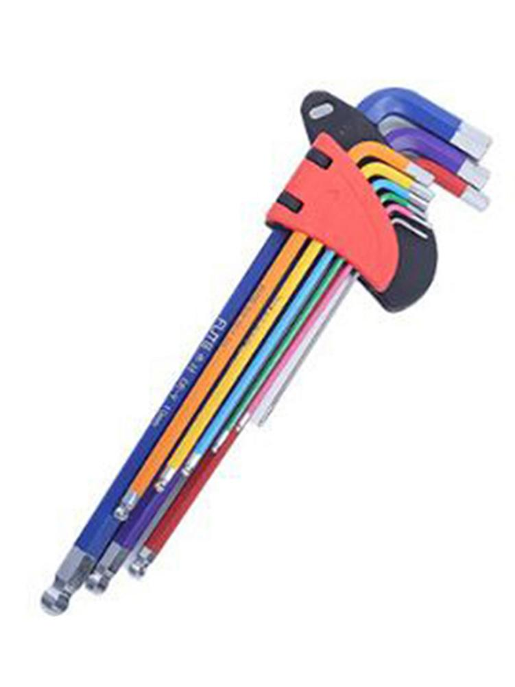 9PCS Hex Key Set Long Arm Foldable Chrome Vanadium Steel Ball End Allen Key Set Folding Hex Key Wrench Tool Set Durable Color He