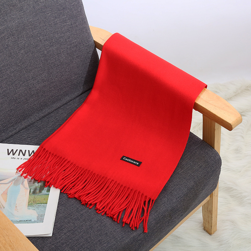 China Red Activity Party Profession Customizable Logo Solid Color Faux Cashmere Warm Tassels Shawl Winter Scarf