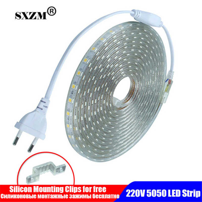 Tahan Air SMD 5050 LED Tape AC220V Flexible LED Strip 60 LED/Meter Outdoor Lampu Taman dengan Uni Eropa Plug Светодиодная лента