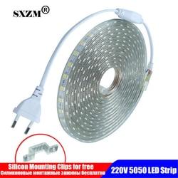 Waterproof SMD 5050 led tape AC220V flexible led strip 60 leds/Meter outdoor garden lighting with EU plug светодиодная лента