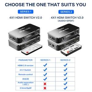Image 5 - Commutateur HDMI 2.0 4K 60HZ HDR HDMI commutateur de répartiteur 4 en 1 sortie HDMI commutateur Audio extracteur ARC & IR contrôle pour PS3 PS4 HDTV