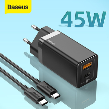Baseus 45W GaN USB Quick Charger For iPhone Support SCP QC3.0 PD3.0 Fast Charging For Xiaomi Travel Quick Charger For Laptop