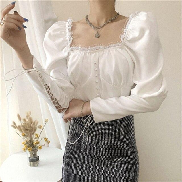 Купить женские белые черные блузки осенние новые французские сексуальные картинки цена