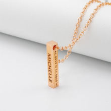 Engraving Personalized Square Bar Custom Name Necklace Women Rose Gold Sliver Chain Stainless Steel Letter Necklace Men Jewelry
