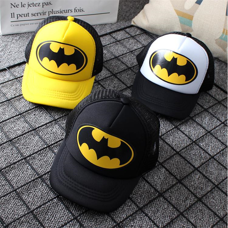 Hip Hop Children's Hats Spring And Summer Adjustable Kids Cap Batman Printing Kids Baseball Caps Sun Hat Boys Girls