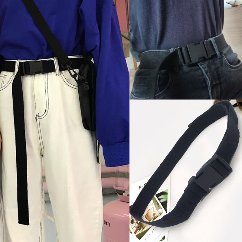 Fashion Black Canvas Belt For Women Casual Female Waist Belts With Plastic Buckle Harajuku Solid Color Long Belts Ceinture Femme
