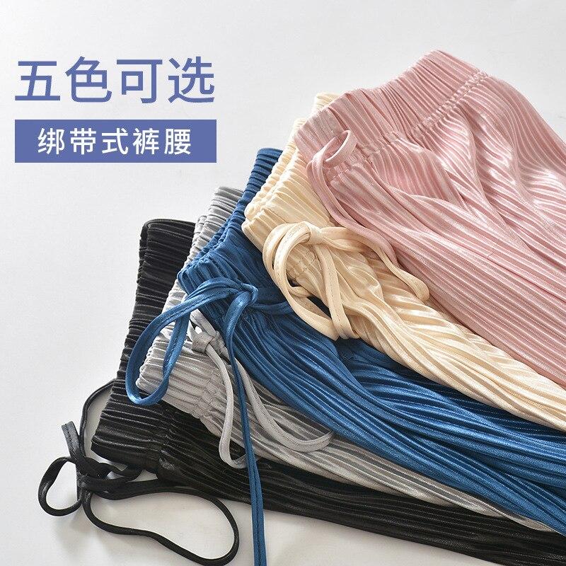 Japanese-style Summer Thin Section Breathable Slimming Tibetan Meat Fashionable Pleated Capri Loose Pants Zhe Zhou Ku Paper Shee