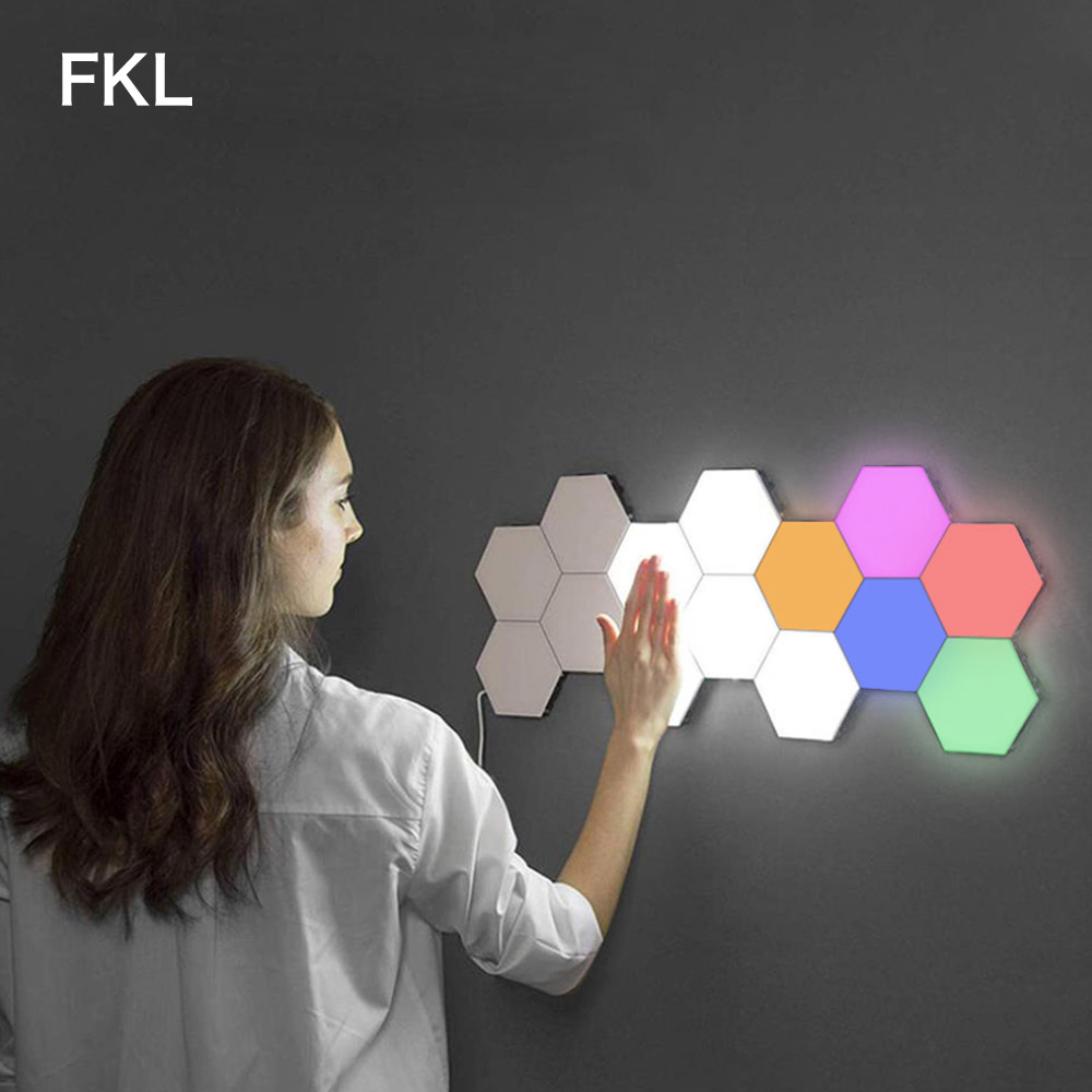 FKL LED Quantum Lamp Modular Touch Sconce Sensitive Touch Lamp Hexagonal Magnetic Tiles Night Lights Wall Bedside Wall Light