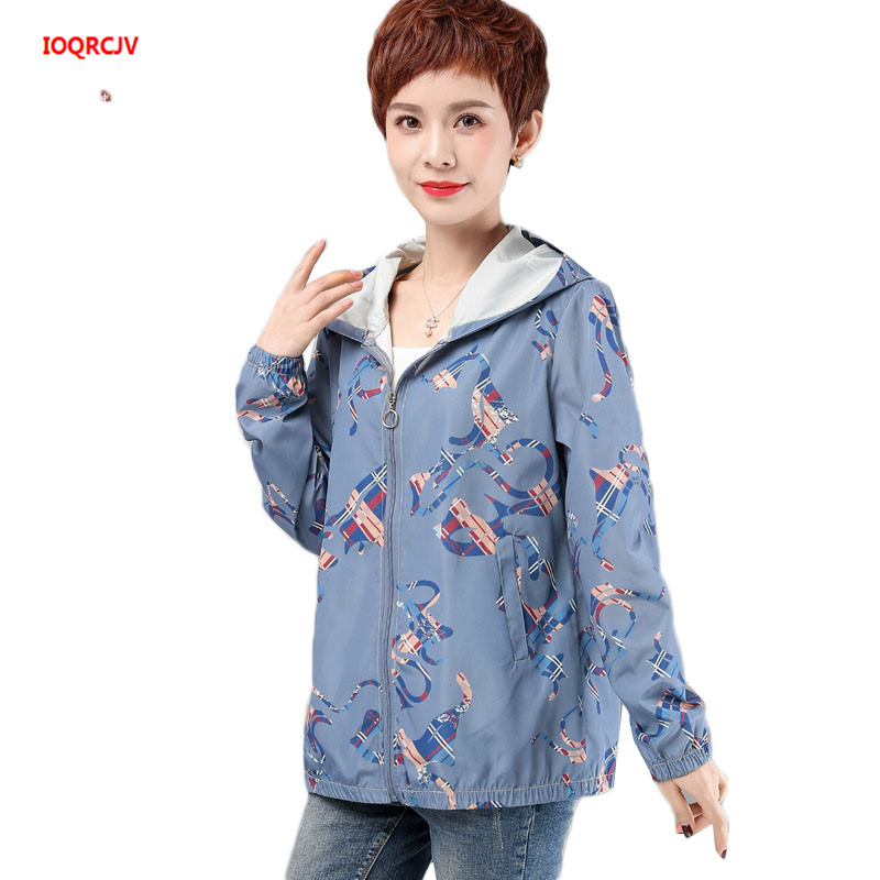 Large Size Female Trench Coat Spring Autumn Long Sleeve Loose Print Tops Middle Aged Women Thin Windbreaker Overcoat 5XL W1957