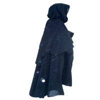 Medieval Retro Hooded Wizard Cloak Black Renaissance Coat Role Playing Monk Robe