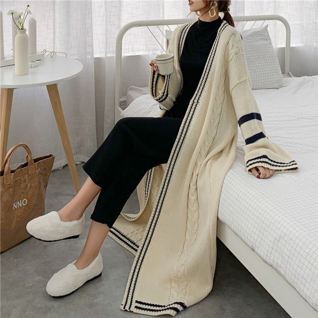 Long Style Autumn Knitted Sweater Popular Coat Cardigan3