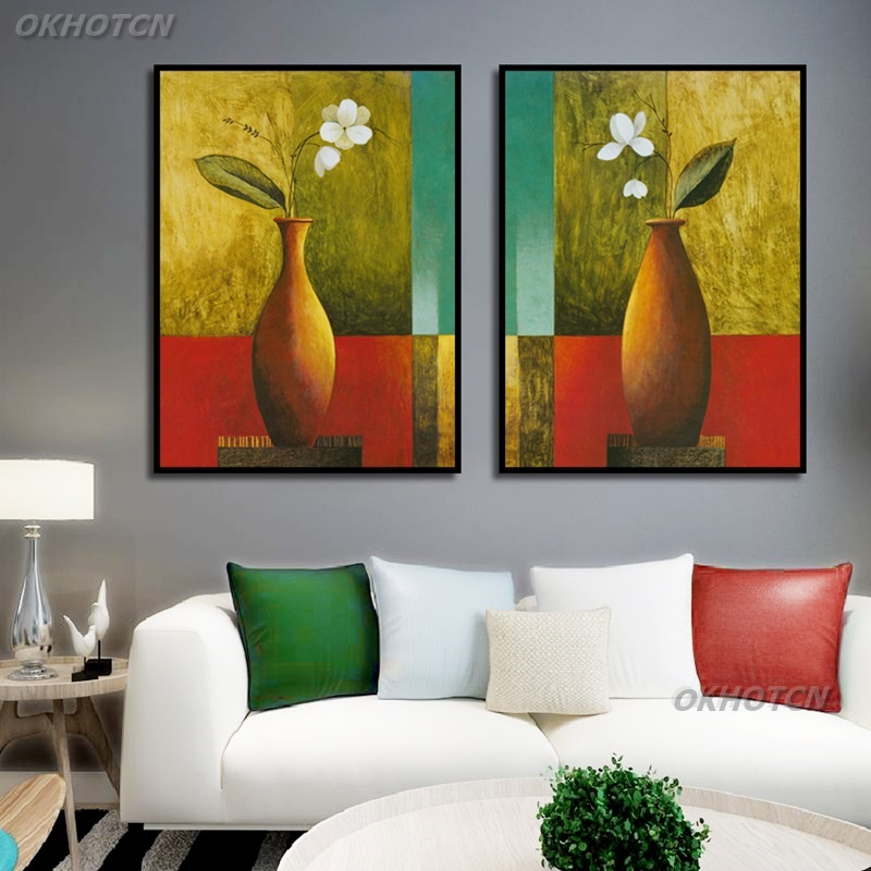 Modern Flower In Vase Oil Painting Canvas Art Posters Print Modular Wall Picture