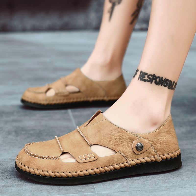 Classic Handmade Genuine Leather Summer Sandals Men High Quality Beach Outdoor Sandals Comfortable Soft Footwear Rubber Shoes
