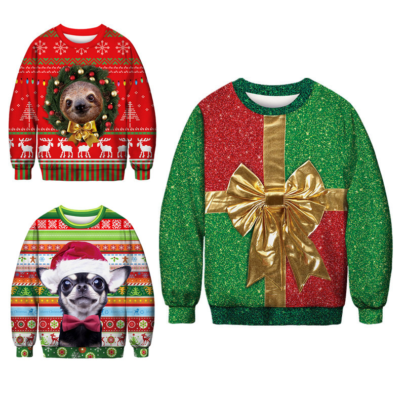 3D Christmas Deer Snowman Christmas Gift Santa Claus Patterned Ugly Sweater Jerseys And Sweaters Blouses For Men Women Pullover