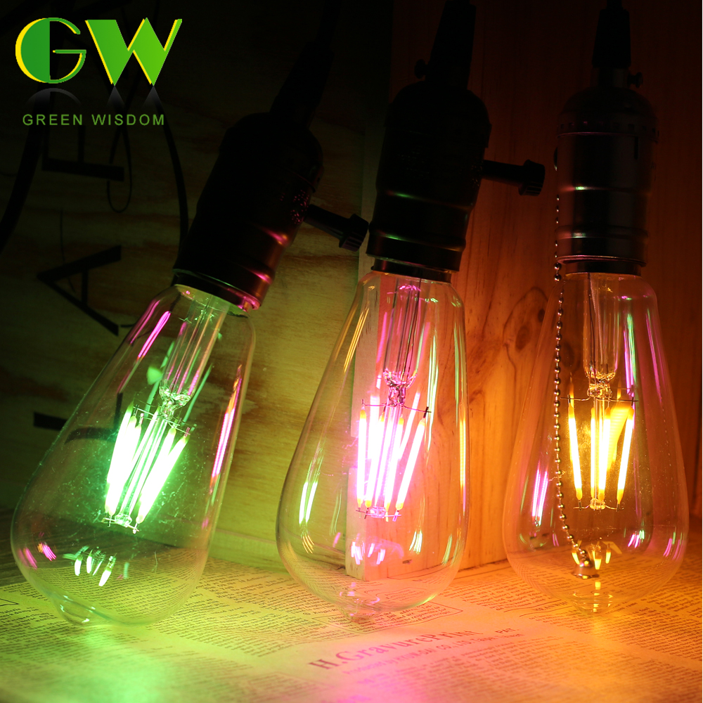 8 Colors Vintage LED Edison Bulb E27 220V Incandescent Filament Light Bulb Retro Colorful Edison Light For Home Store Decoration