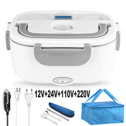 2 in 1 110V 220V 12V 24V Stainless Steel Electric Heating Lunch Box Car Office School Food Warmer Container Heater Bento Box Set