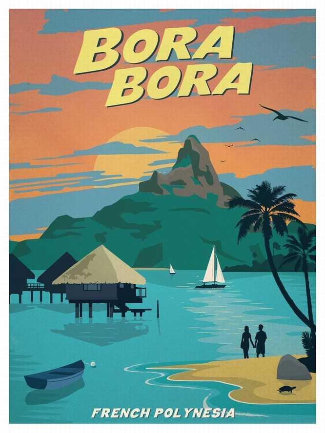 Vintage Travel Surf Beach Poster Retro
