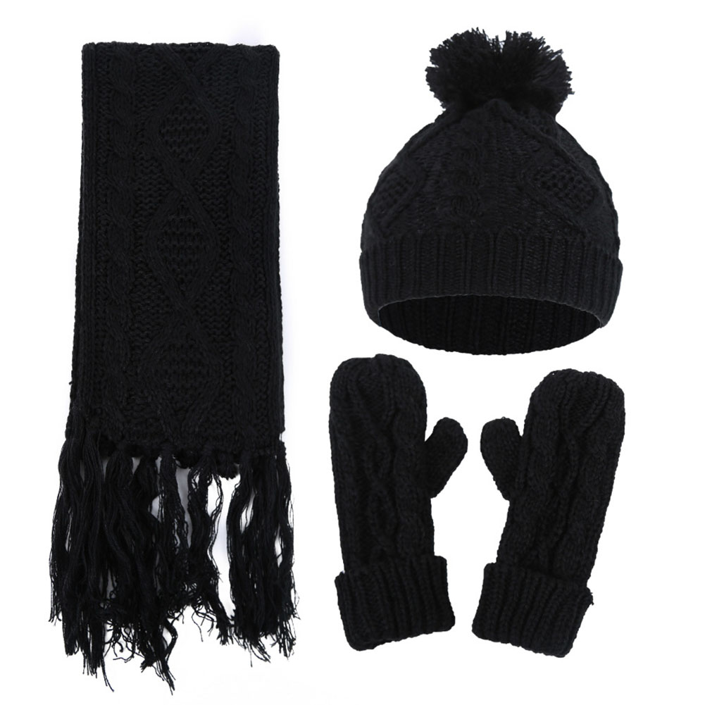 Knitted Casual Set Artificial Woolen Windproof Winter Scarf AND Gloves Hat Warm